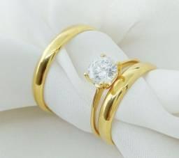 Par de aliança e anel solitário em ouro 18k direto com o fabricante