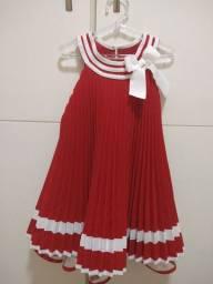 Vestido Vermelho Plissado 2 anos