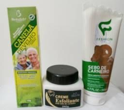 Kit com 3 produtos, 1 creme esfoliante, 1 hidratante e 1 pomada canela de velho.