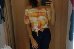 Blusa ciganinha tie dye laranja tamanho P