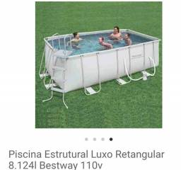 Piscina Estrutural Luxo Retangular 8.124l Bestway 110v<br><br>