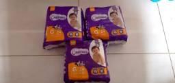 Fralda G kit com 3 pacotes com 24 fraldas por pacote