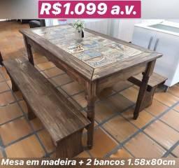 Mesa para área de festa rústica com cerâmica promoção