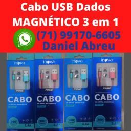 Cabo USB Magnético 3 em 1- Dados e Enérgia - tipo C, Iphone e Android