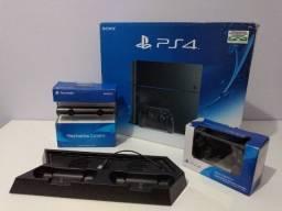 Playstation 4 500gb + 2 Controles + Câmera + 55 Jogos