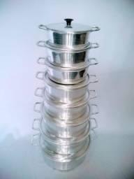 Jogo de panelas de alumínio batido com tampas grossas