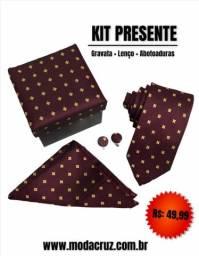 Kit (Caixa, Gravata, Lenço e Abotoaduras)