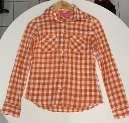 Camisa Dudalina Feminina Laranja Xadrez, 36, Original