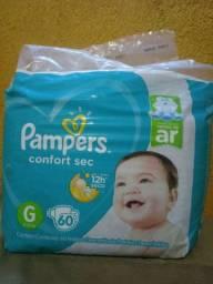 1 pacote de fraldas pampers confort sec G 60