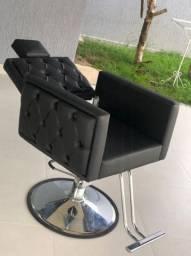 Cadeira Hidraúlica Luxo Base Redonda Reclinável