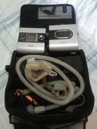 CPAP Resmed com umidificador, chip e máscara