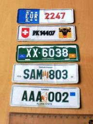 Colecionáveis Antigos Anos 80 - Lote 5 Miniaturas de Placas de Carro - Papel Cartão