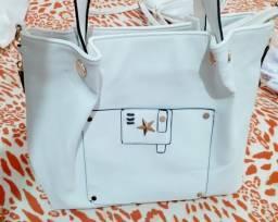 Kit com 2 bolsas femininas- grande+ média na cor branca