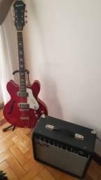 Guitarra Ephifone semi acustica cassino cherry e Amplificador fender frontemamr 25R