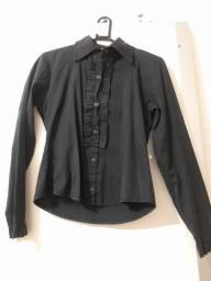 Camiseta social feminina preta