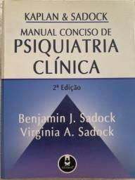 Manual Conciso de Psiquiatria Clínica - Kaplan & Sadock em ótimo estado.