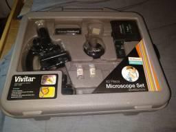 Microscópio Set usado algumas vezes mas em bom estado geral. Acompanha maleta