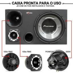 Caixa Trio Pioneer C/ Subwoofer 12 Pol 570W RMS + Corneta E Tweeter
