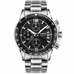 Relógio Lige Silver Black Aço Luxo - Entrega Grátis