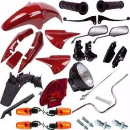 Kit carenagem + kit farol pisca +kit guidao cg 125 fan 2004 a 2008 preto