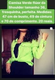 Camisa Verde flúor da Shoulder tamanho 36