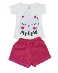 Conjunto Bebê Menina Camiseta Meia Manga e Shorts Verão - Novo