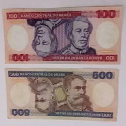 Cédulas de 500 e 100 cruzeiros, original, Flôr de estampa.