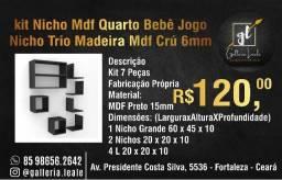 Kit 7 Peças Nichos Preto Fabricação Própria Mdf 6mmNicho Mod.