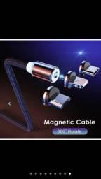 Título do anúncio: Cabo Carregador Magnético 3 em 1 - TYPE C, Micro USB e Lightning