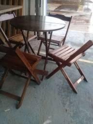 Mesa com 4cad Madeira Maciça *