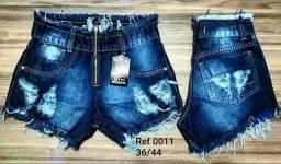 Short jeans cintura alta desfiado