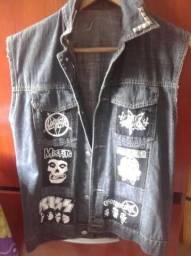 Colete headbanger jeans com patches 3c09405acee