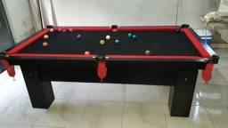 Mesa de Bilhar Preta TX Tecido Preto Bordas Vermelhas 2,20 x 1,20 Redinha Vermelhas