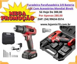 Kit Furadeira Parafusadeira 3/8 Bateria 12v Com Acessórios Mondial Bivolt<br><br>