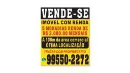 Vende-se imóvel com 5 moradias e renda de R$3000,00, bem localizado no Bairro Céu Azul
