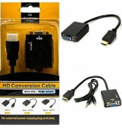 Adaptador HDMI macho / VGA fêmea com audio