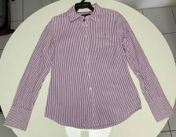 Camisa Tommy Hilfiger Feminina Roxa Listrada, P, Original , Importada