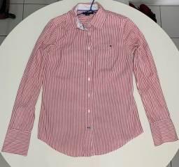 Camisa Tommy Hilfiger Feminina Vermelha Listrada, P, Original , Importada