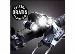 Farol bike & lanterna de cabeça triplo 220000 lumens t6 - entrega grátis