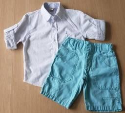 Conjunto infantil menino, bermuda + camisa manga longa