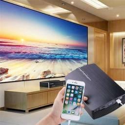 Projetor portátil Wi-fi, entradas para celular, HDMI, e Pen drive