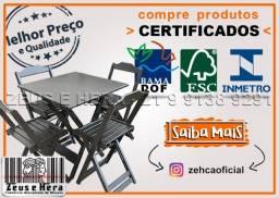 Evite Dor de Cabeça - Mesa Bar 70x70 com 4 Cadeiras Madeira - Compre Produtos Certificados
