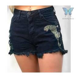 Shorts Jeans Preto Tigre