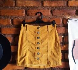 Saia de botões amarela mostarda Pool Jeans
