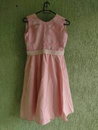 Vestido infantil bordado veste 7 a 10 anos