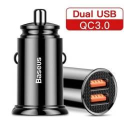 Título do anúncio: Carregador Automotivo Baseus 30W 5A Dua USB QC3.0