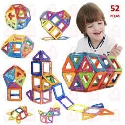 Blocos Magnéticos 52 peças completo com triângulos e quadrados