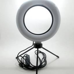 Ring Light Led de Mesa, Iluminador Pequena com Tripé 6 Polegadas 16cm