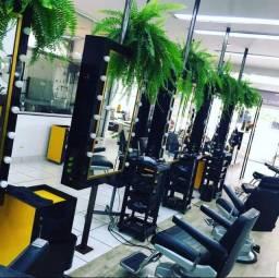 Seu salão/ barbearia retrô   - Espelheira + cadeira hidráulica