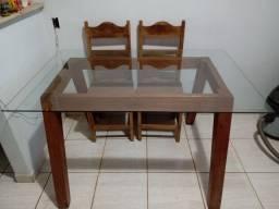 Mesa madeira maciça com vidro